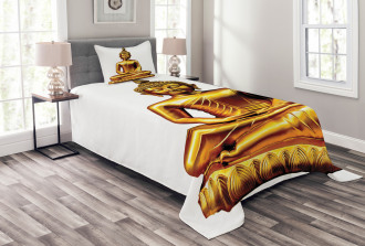Statue Temple Oriental Bedspread Set
