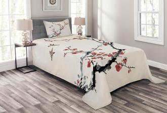 Asian Style Art Birds Bedspread Set