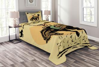 Wild Horse Rodeo Cowboy Bedspread Set
