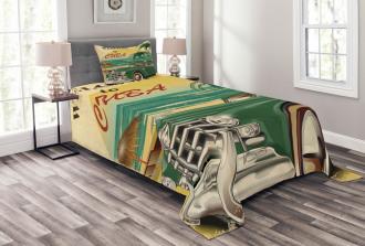 Cuba Beach Ocean Palm Bedspread Set