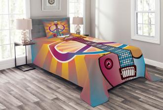 Guitar Peace Symbol Bedspread Set