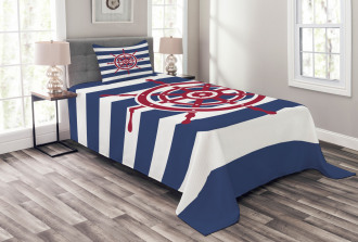 Red Ship Wheel Icon Bedspread Set