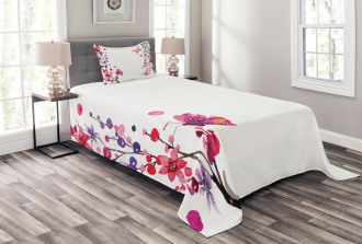 Floral Art and Butterfly Bedspread Set