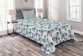 Floral Butterflies Bedspread Set