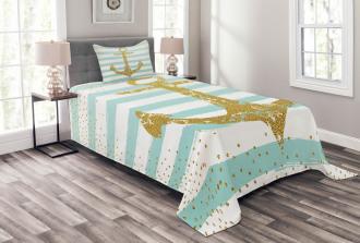 Marine Golden Anchor Bedspread Set