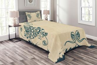 Vintage Peacock Bird Bedspread Set