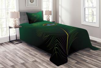 Peacock Bird Plumes Bedspread Set