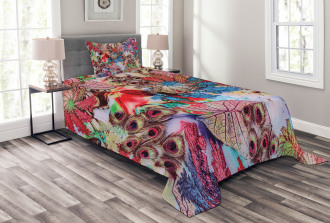 Peacock Feather Animal Bedspread Set