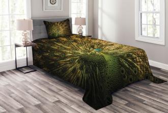 Exotic Dark Feathers Bedspread Set