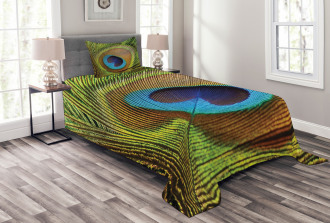 Green Peacock Feathers Bedspread Set