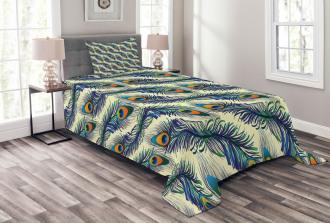 Ornamental Peacock Bird Bedspread Set