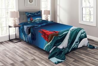 Cartoon Ship on Waves Bedspread Set
