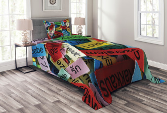Words Collection Love Bedspread Set