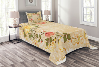 Leaves Roses Floral Bedspread Set