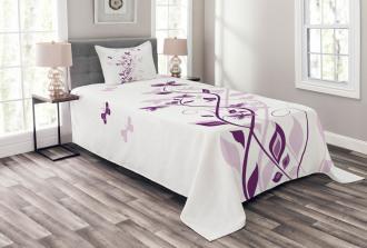 Violet Tree Blossoms Bedspread Set