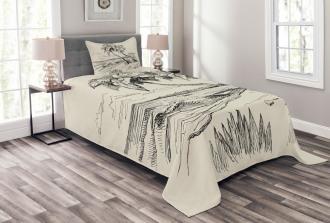 Tropical Beach Sketch Bedspread Set