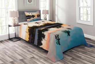 Sunset Moorea Island Bedspread Set