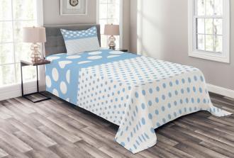 Baby Blue Polka Dots Bedspread Set