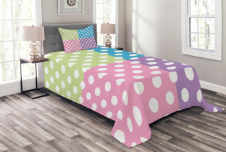 Polka Dots Patchwork Bedspread Set