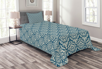 Blue Floral Pattern Bedspread Set