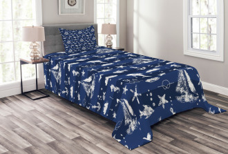Grunge Anchor Ship Bedspread Set