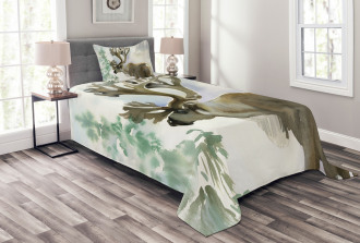 Winter Forest Paint Style Bedspread Set