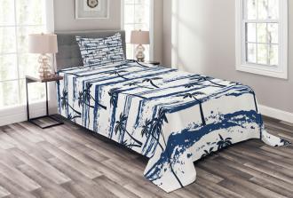 Romantic Sea and Palm Bedspread Set