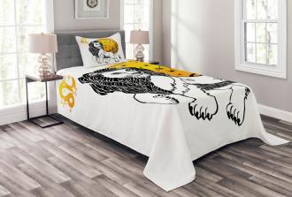 Zodiac Leo Symbol Art Bedspread Set