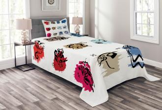 Zodiac Signs Artwork Bedspread Set