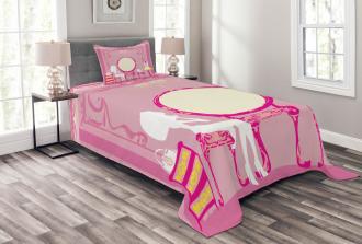French Lady Cat Mirror Bedspread Set