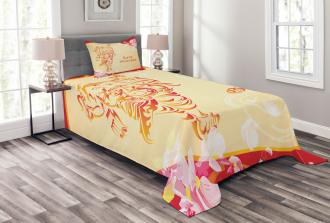 Elephant Pink Blossoms Bedspread Set