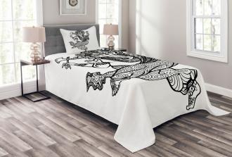 Dancing Elephant Sketch Bedspread Set