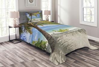 Palm Trees Coastline Bedspread Set