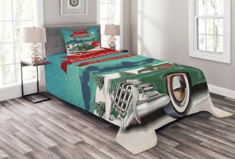 Santa in Classic Car Bedspread Set