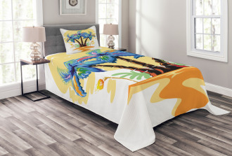 Cartoon Island Sunset Bedspread Set