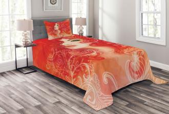 Lady Hair Floral Ornament Bedspread Set