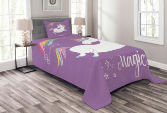 Purple Kids Rainbow Bedspread Set