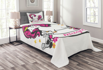 Unicorn with Pink Hair Bedspread Set