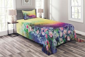 Spring Flowers Ivy Art Bedspread Set