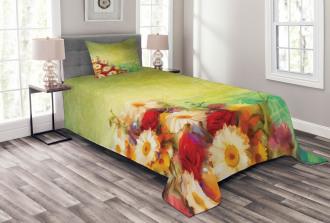 Romantic Flower Bouquet Bedspread Set