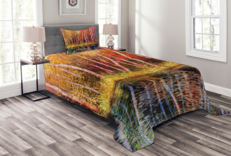 Autumn Trees By Lake Bedspread Set