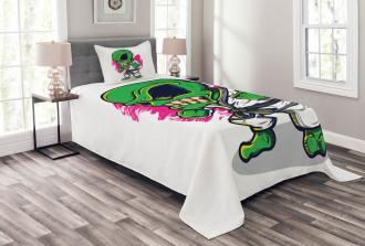 Angry Alien Karate Art Bedspread Set