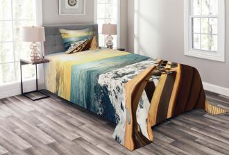 Sailboat Sunset Sea Bedspread Set