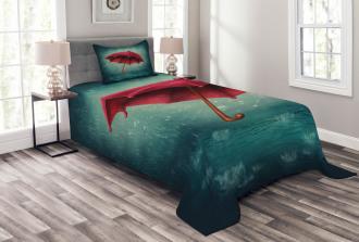 Retro Autumn Umbrella Bedspread Set