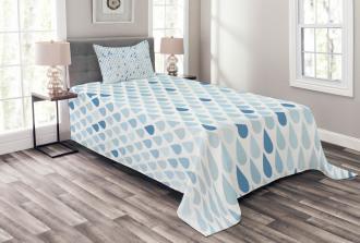 Raindrops White Navy Bedspread Set