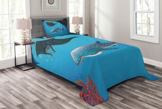 Swimming Shark Ocean Bedspread Set