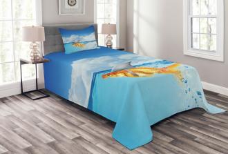 Cute Goldfish with Shark Fin Bedspread Set