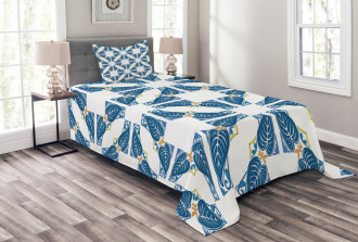 Moroccan Blue Leaves Bedspread Set
