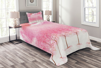 Cherry Trees Feathers Bedspread Set