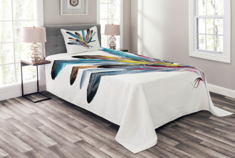 Colorful Feathers Old Pen Bedspread Set